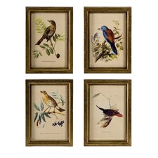 Wooden Bird Plaque (Set of 4)