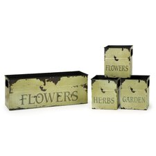 <strong>IMAX</strong> Tin Flower Planters (Set of 4)