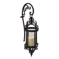 Dempsy Wrought Iron and Glass Hanging Wall Lantern