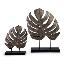 2 Piece Leaves on Stand Sculpture