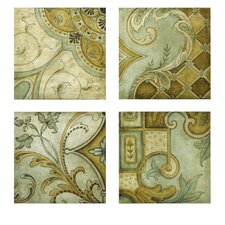 Haden Wall Canvas in Green and Yellow (Set of 4)