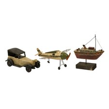 Three Piece Wright Air Water and Land Transportation Model Set