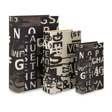 <strong>IMAX</strong> Text Collage Book Box in Black and White (Set of 3)