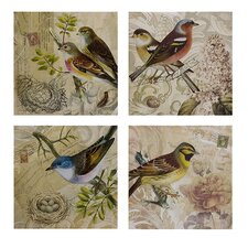 Kincaid Bird 4 Piece Photographic Print Plaque Set
