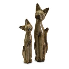 2 Piece Aoloni Ceramic Cat Figurines Set