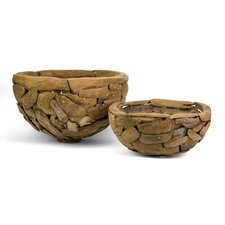 Mandrill Oversized Teakwood Puzzle Bowls (Set of 2)