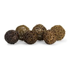Worren Natural Wrapped Ball Sculpture (Set of 6)