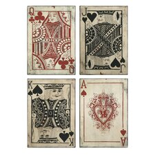 Leonato Playing Card 4 Piece Graphic Plaque Set