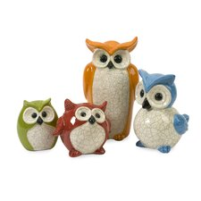 4 Piece Enchanted Owl Figurine Set