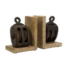 <strong>IMAX</strong> Mason Wood Pulley Book Ends (Set of 2)