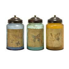 3 Piece Worldly Butterfly Glass Canister Set