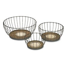 Benito Wood and Metal Baskets (Set of 3)