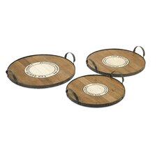 Benito Wood and Metal Trays (Set of 3)