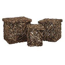 Three Piece Mixed Rattan Square Box Set