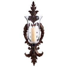 Wrought Metal and Glass Hurricane Wall Sconce