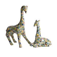 IK Gervaiso Hand Painted Giraffes Statue (Set of 2)