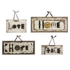 Bennett Found-Object Wall Plaque (Set of 4)