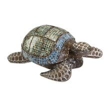 <strong>IMAX</strong> Talulah Carved Wood Mosaic Turtle Figurine
