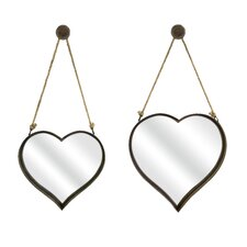 2 Piece Heart Shape Wall Mirror