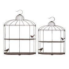 2 Piece Open Cage Shelf Set