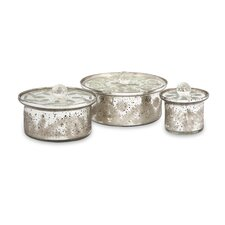 Dalena Etched Glass Round Boxes with Lids (Set of 3)
