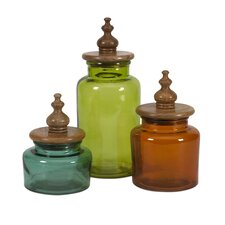 Saburo Glass and Wood Lid Canister (Set of 3)