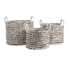 <strong>IMAX</strong> Anise Recycled Magazine Basket (Set of 3)