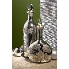 Mercury Glass Lidded Bottles (2 Piece Set)