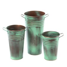 Leva Verdigris Three Piece Vase Set in Copper