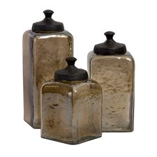 3 Piece Square Luster Canister Set