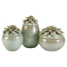 3 Piece Tilly Floral Lidded Decorative Jar Set