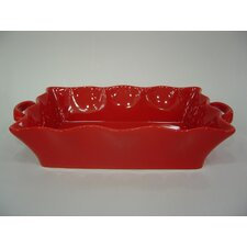 BIA Wavy Bakeware Deep Rectangular Roaster in Red