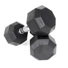 40 lbs  Rubber Encased Octagonal Dumbbells