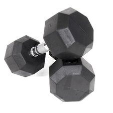 <strong>VTX by Troy Barbell</strong> 50 lbs Rubber Encased Octagonal Dumbbells with Deluxe 2 Tier Dumbbell Rack
