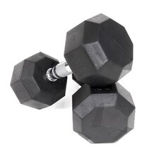 100 lbs Rubber Encased Octagonal Dumbbells