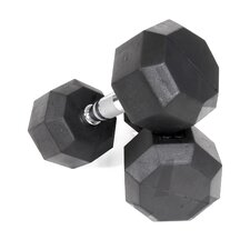 75 lbs Rubber Encased Octagonal Dumbbells with 3 Tier Dumbbell Rack
