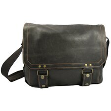 East West Laptop Messenger in Distressed Leather