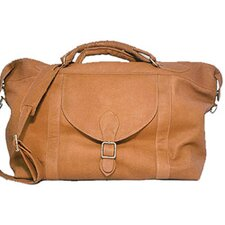 "25"" Leather Top Zip Travel Duffel Bag"