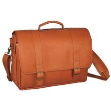 Porthole Padded Leather Laptop Briefcase