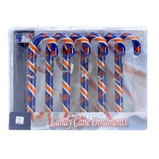 Team Beans Holiday Christmas MLB New York Mets Candy Cane Ornaments Box Set (Set of 6)