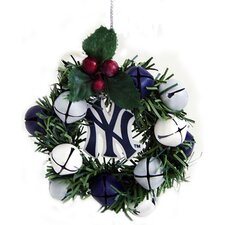 Team Beans Holiday Christmas MLB New York Yankees Wreath and Bells Ornament
