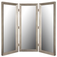 "72"" x 72"" Baroni Silver Mirror 3 Panel Room Divider"