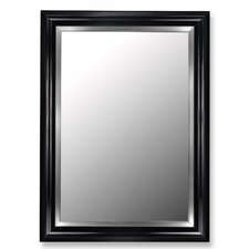 Glossy Black Grande / Stainless Liner Framed Wall Mirror
