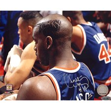 NBA Anthony Mason Side Head Shot of Knicks Hair Cut Horizontal Autographed