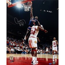 Anthony Mason Slam Dunk Over Olajuwon Vertical Autographed