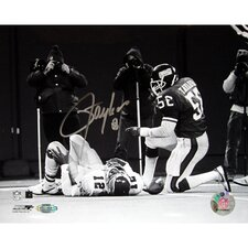 Lawrence Taylor Over Cunningham Black / White Autographed Photograph Graph