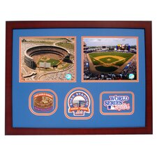 MLB 2 piece 8 x 10 Photo Framed with 3 World Series Patch - New York Mets