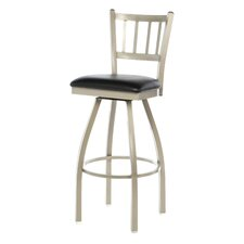 Steel Jailhouse Back Metal Swivel Counter Height Barstool