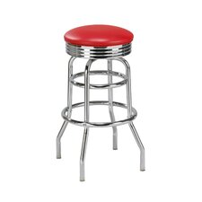 "Steel Double Ring 30"" Retro Backless Metal Swivel Barstool"