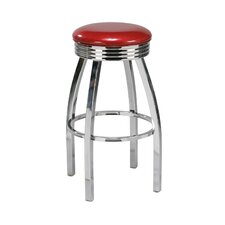 "Steel 26"" Backless Retro Metal Swivel Counter Stool"